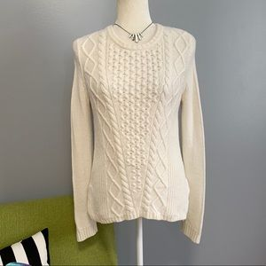 Banana Republic White Cable Knit Sweater